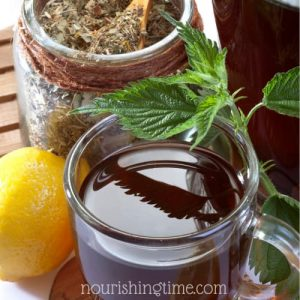 Nettle Infusion with lemon, dried and fresh nettle leaves