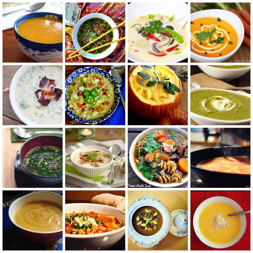 Collage of 16 Nourishing Winter Soups - gluten free, dairy free, paleo friendly recipes.