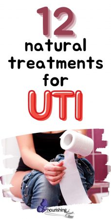Woman sitting on toilet, how to treat a uti naturally pin
